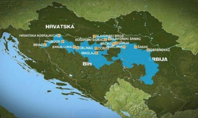 Mapa poplavljenog područja na teritoriji bivše Jugoslavije