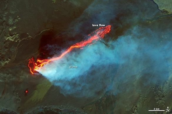 Erupcija vulkana Bardarbunga viđena iz svemira