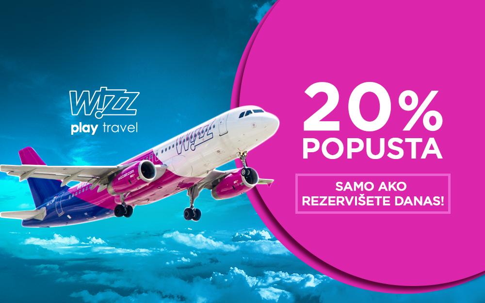 Wizz Air - 20% popusta na sve avio karte i sve letove 2 maj 2019